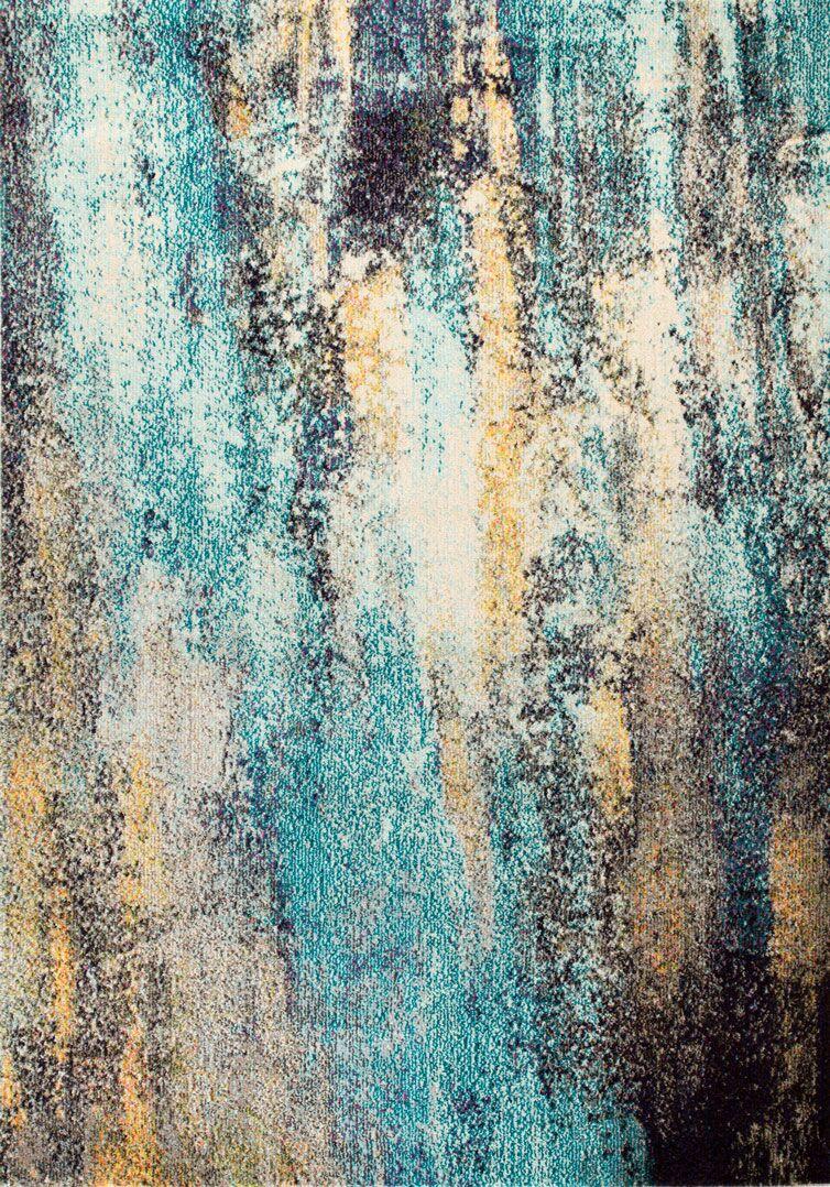 Arnegard Power Loom Gray/Blue Area Rug Rug Size: Rectangle 3' x 10'
