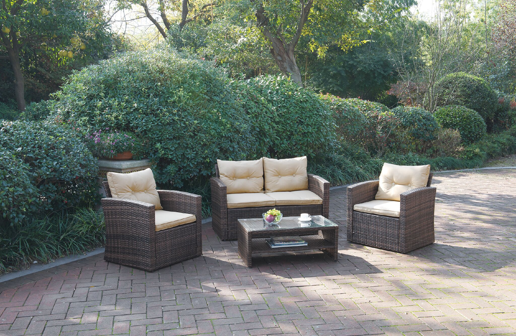 Weirsky 4 Piece Rattan Sofa Set with Cushions