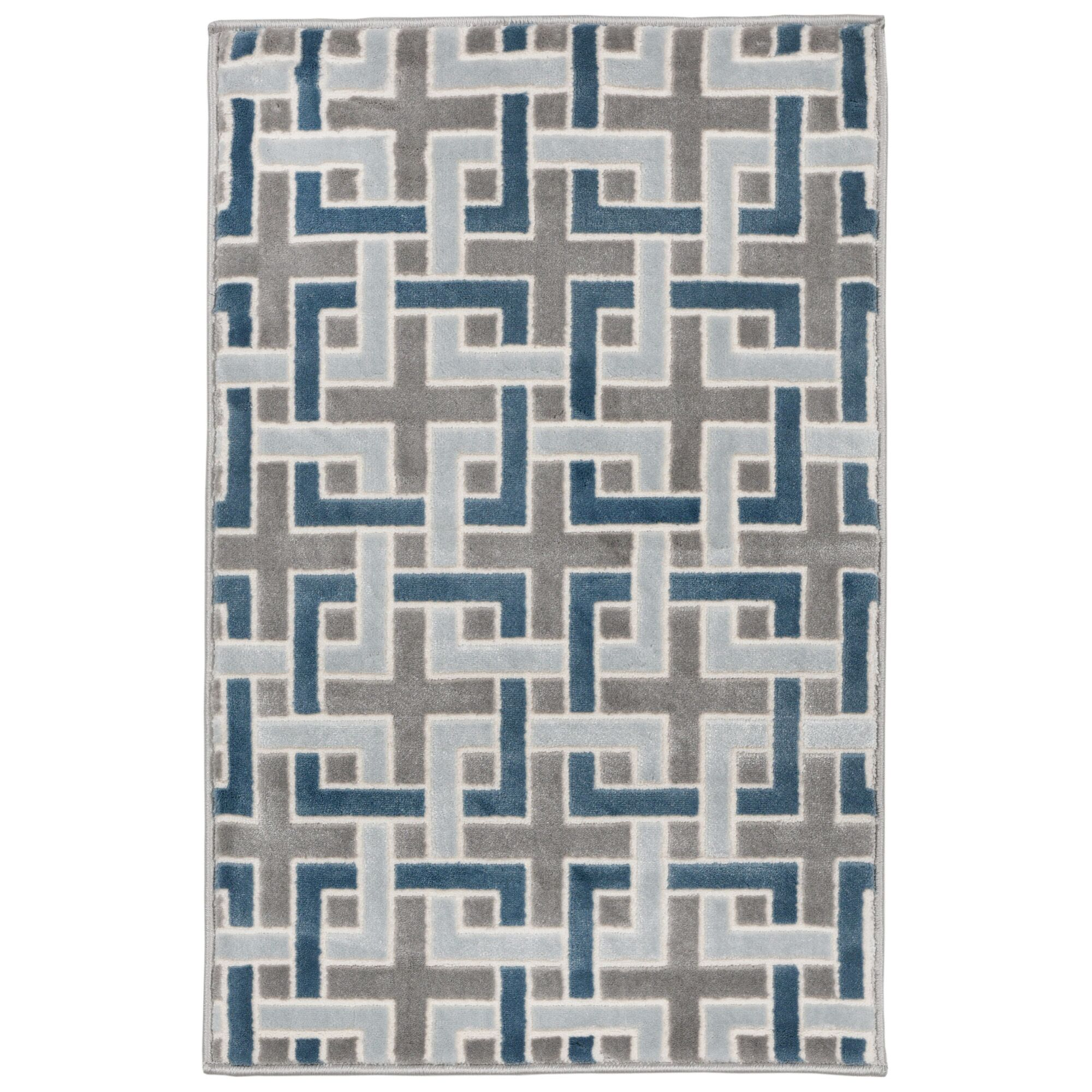 Kari Deco Blue/Gray Area Rug Rug Size: Rectangle 4'10
