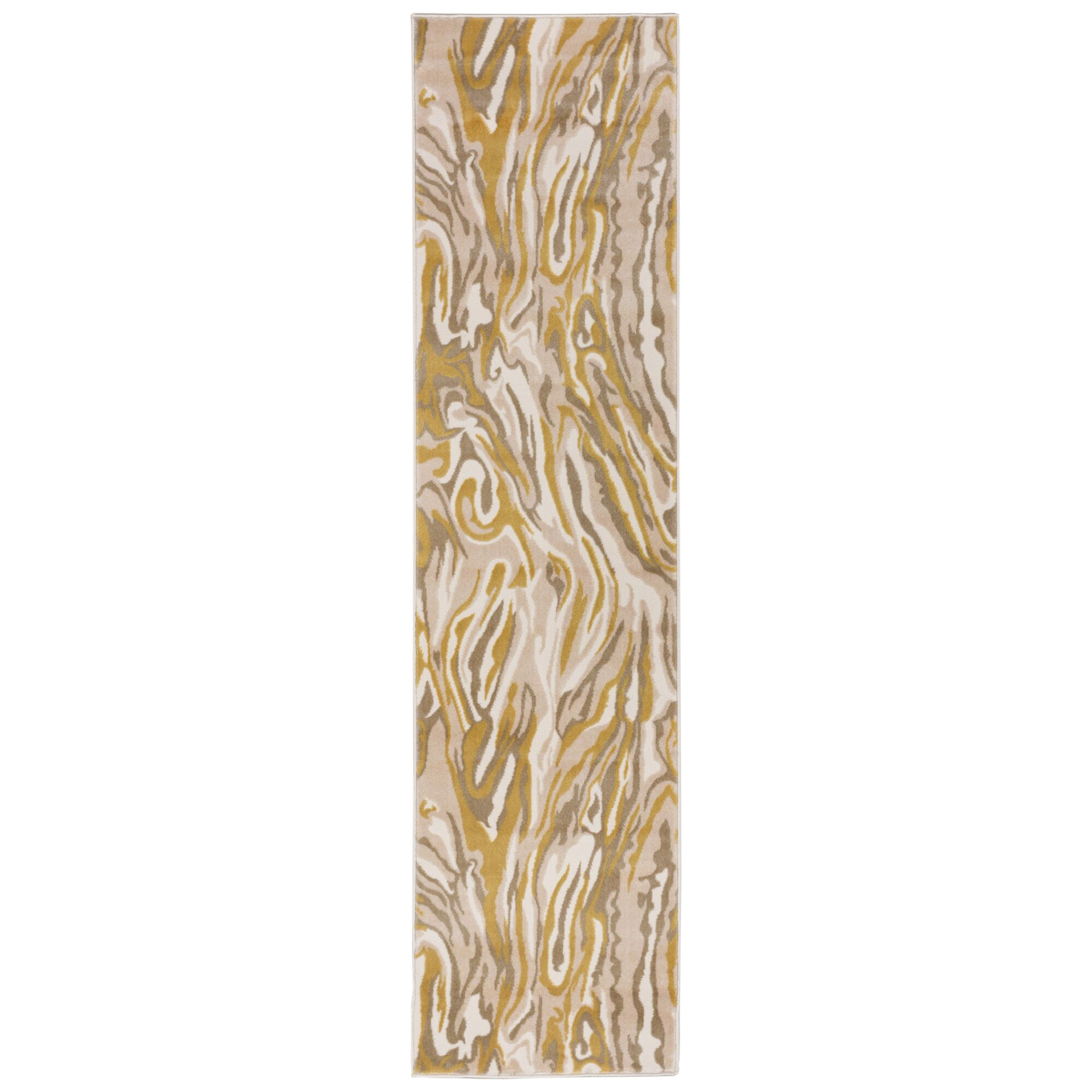 Kari Marble Yellow/Beige Area Rug Rug Size: Runner 1'11