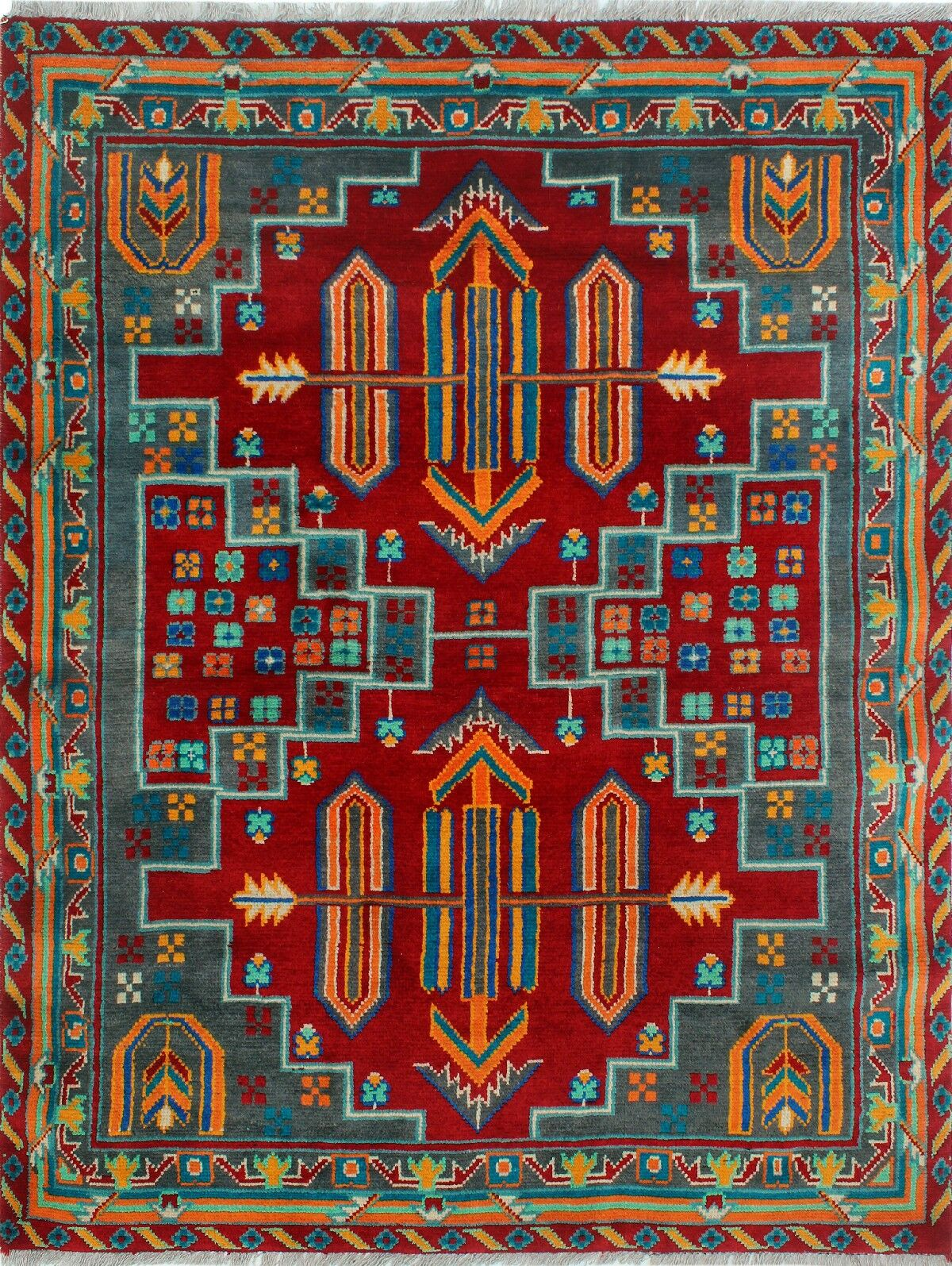 One-of-a-Kind Millender Ojore Hand-Knotted Wool Red/Blue Area Rug