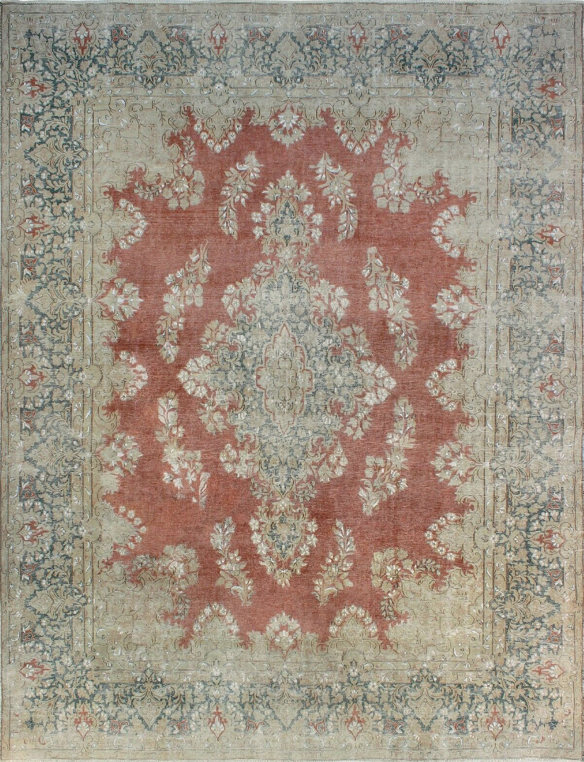 One-of-a-Kind Millner Distressed Valeria Hand-Knotted Wool Gray/Red Are Rug