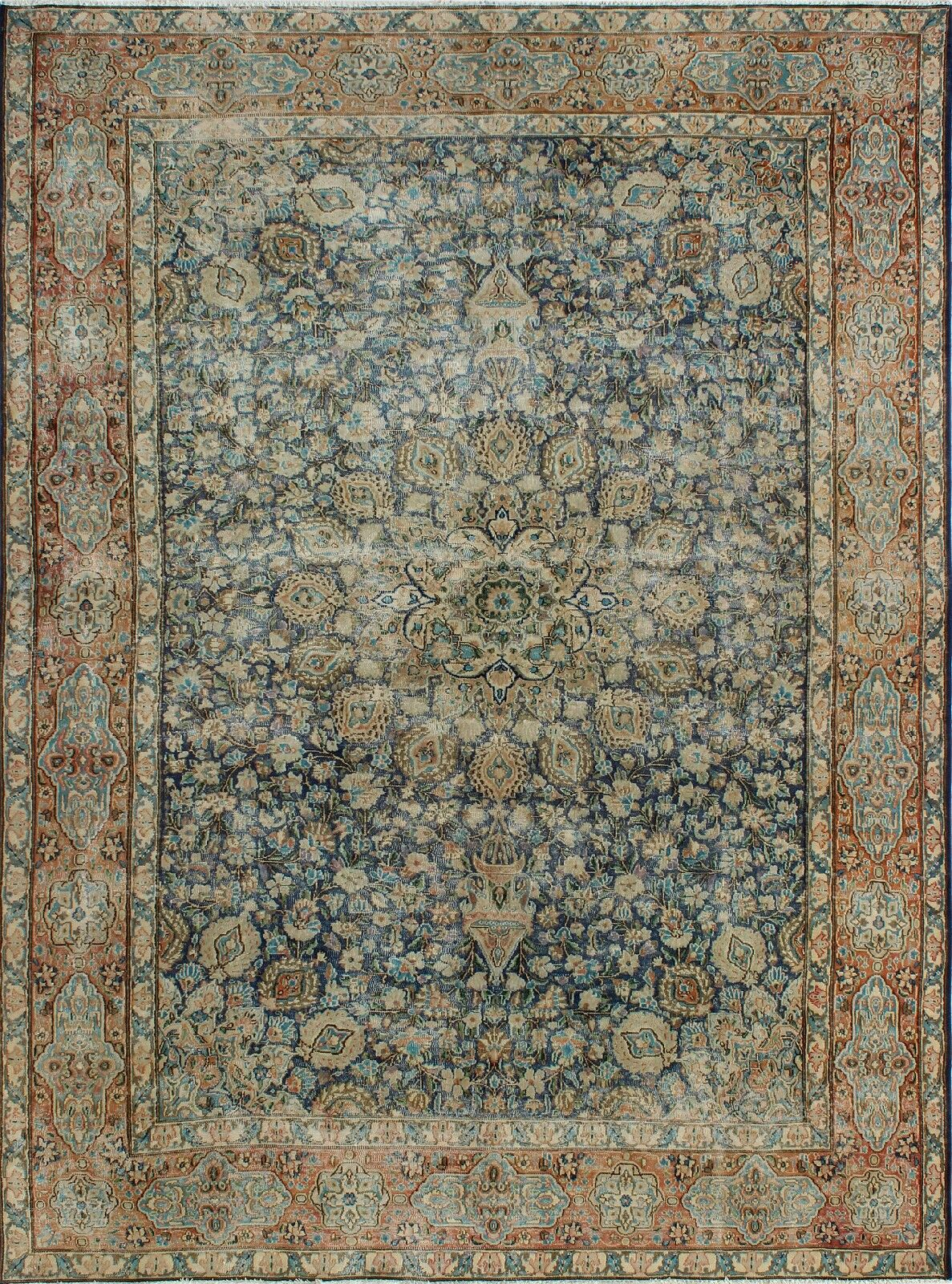 One-of-a-Kind Millner Distressed Nkosazana Hand-Knotted Wool Brown/Blue Are Rug