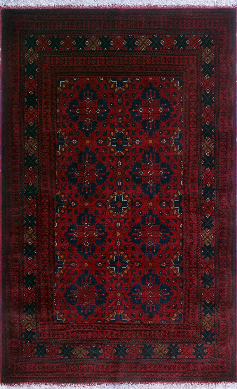 One-of-a-Kind Millar Baderinwa Hand-Knotted Wool Red Are Rug