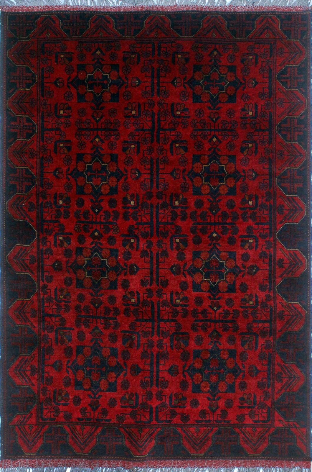 One-of-a-Kind Millar Sibongile Hand-Knotted Wool Red Are Rug