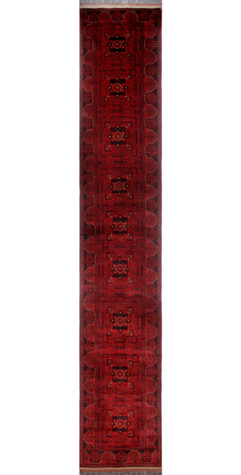 One-of-a-Kind Millar Jafari Hand-Knotted Wool Red Are Rug