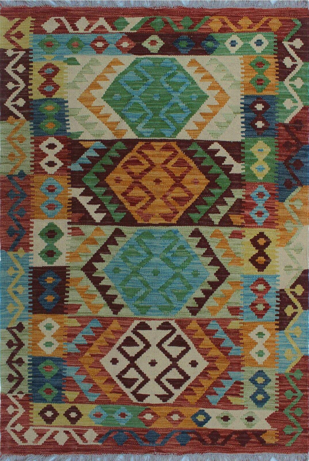 One-of-a-Kind Renita Kilim Hand-woven Wool Green/Brown Area Rug