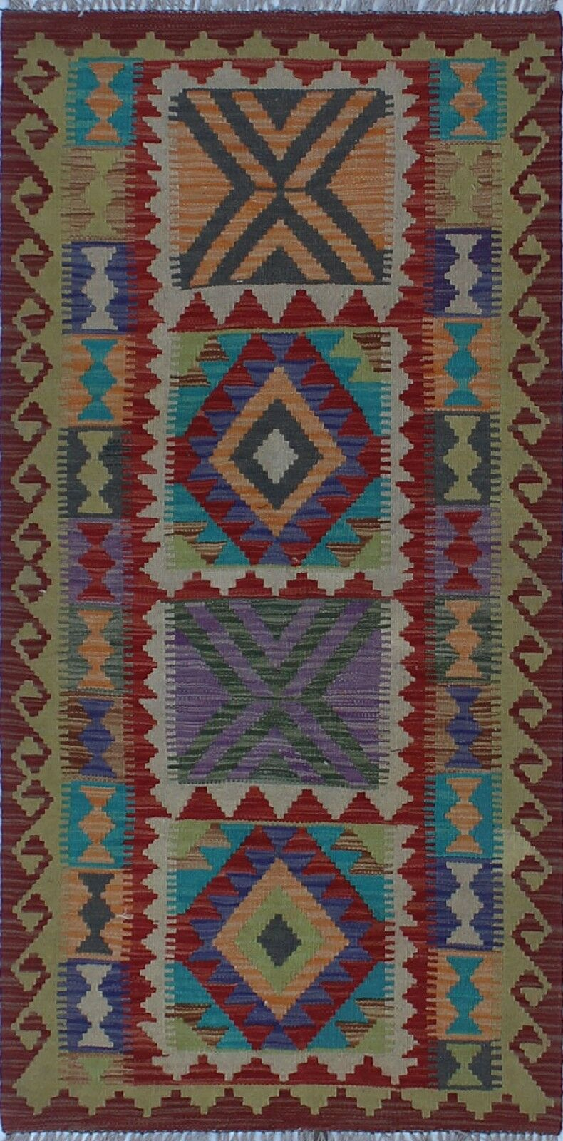 One-of-a-Kind Renita Kilim Hand-woven Wool Beige/Red Area Rug