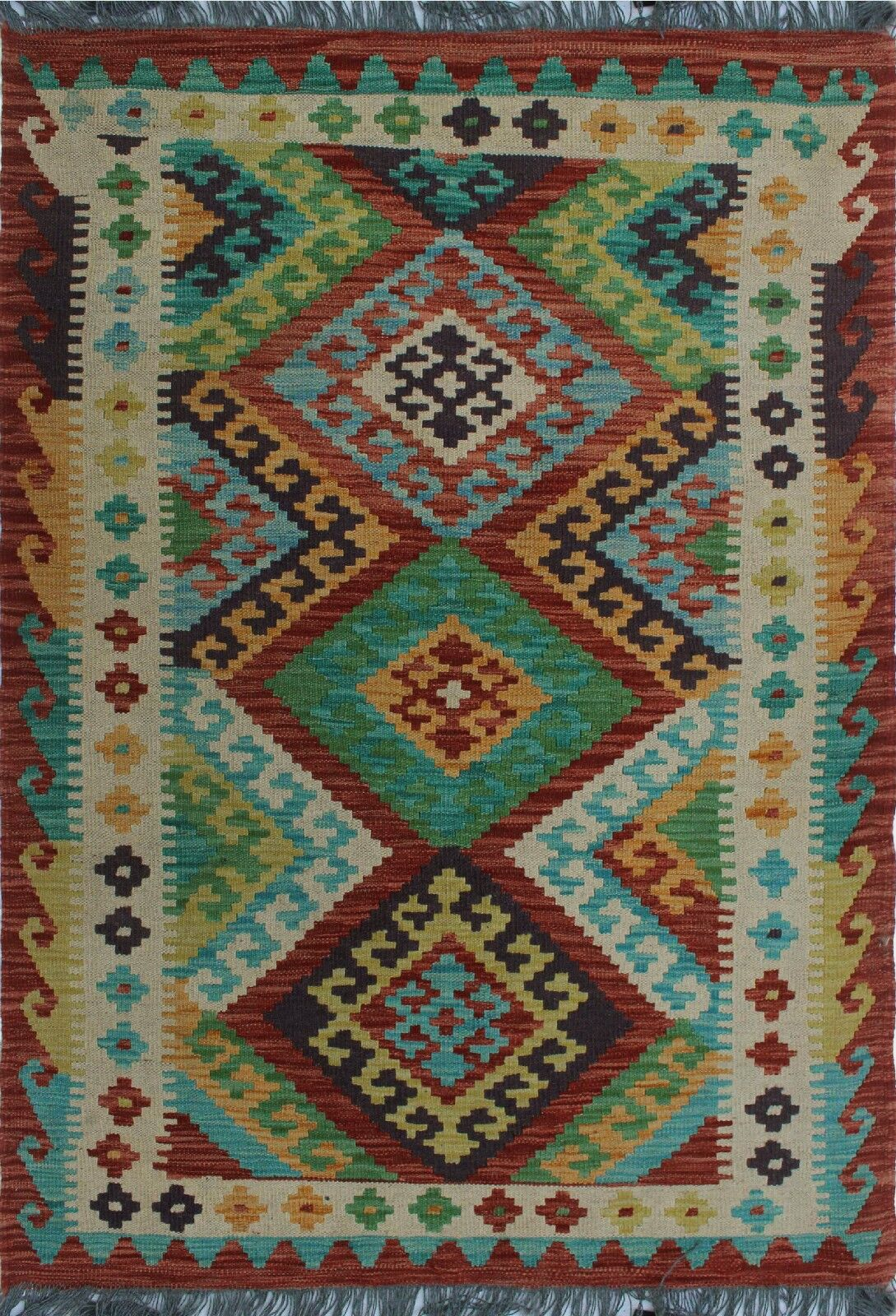 One-of-a-Kind Renita Kilim Hand-woven Wool Green/Brown Area Rug