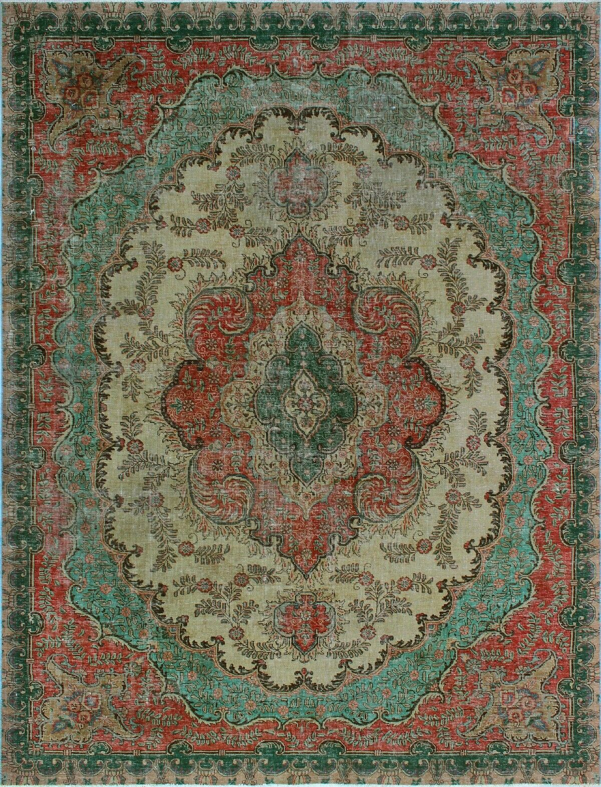 One-of-a-Kind Millikan Distressed Hand-Painted Daisy Hand-Knotted Wool Green/Beige Area Rug
