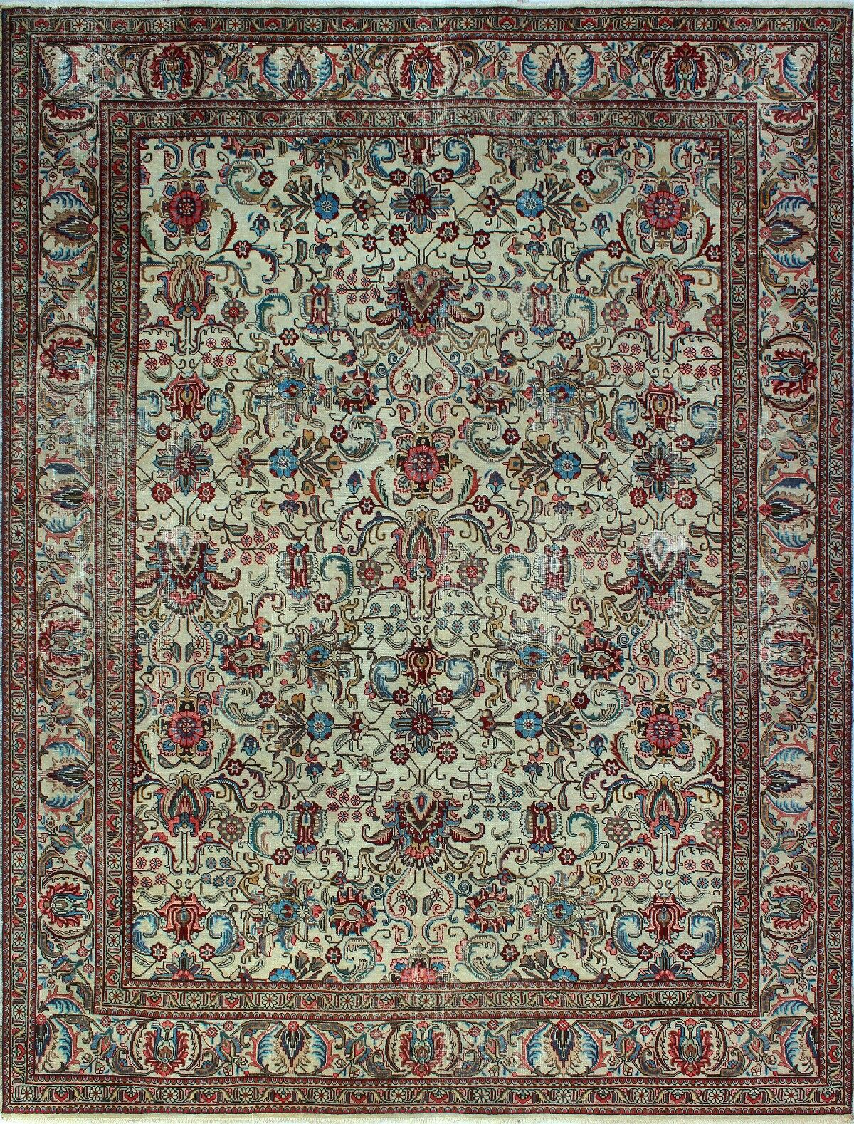 One-of-a-Kind Millikan Distressed Rosie Hand-Knotted Wool Ivory Area Rug