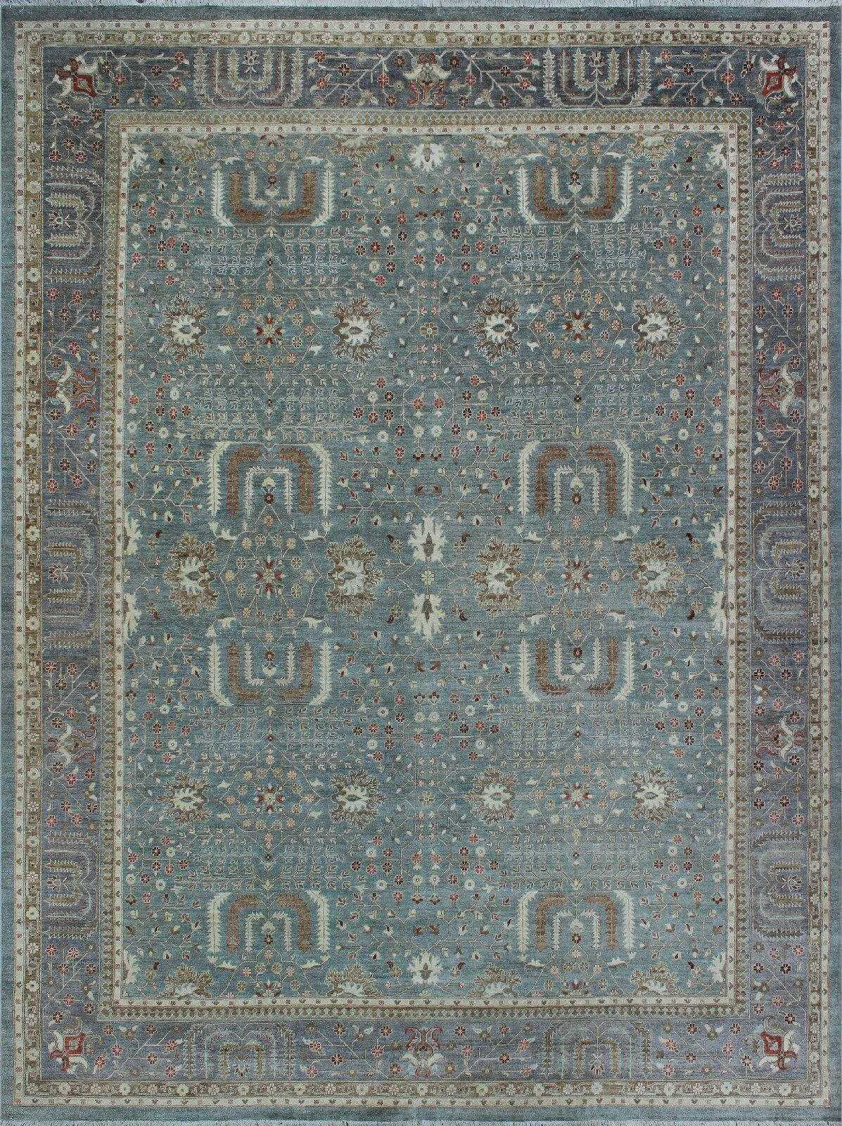 One-of-a-Kind Suzann Fine Chobi Hand-Knotted Green/Gray Area Rug