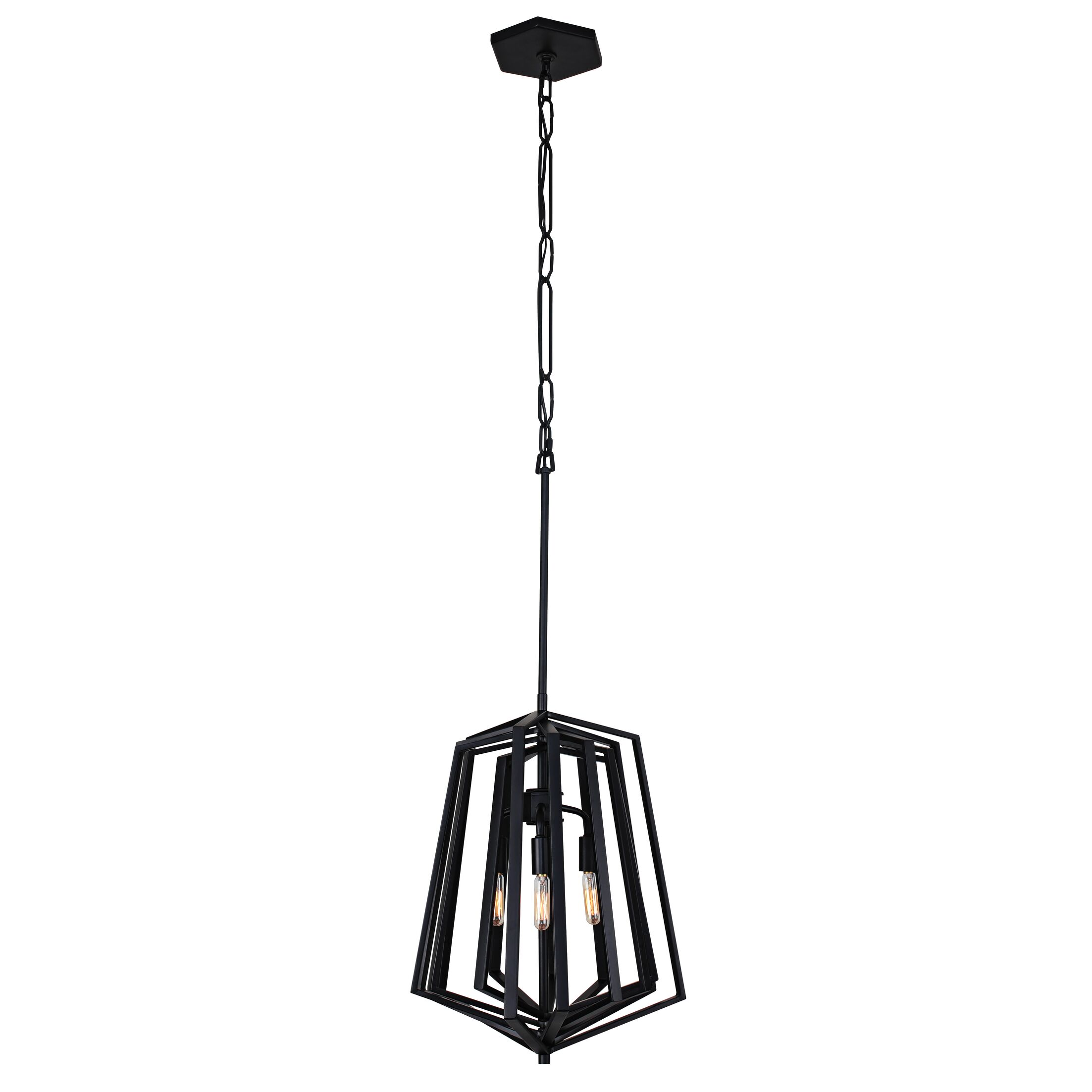 Gymnast 3-Light Geometric Chandelier Finish: Black
