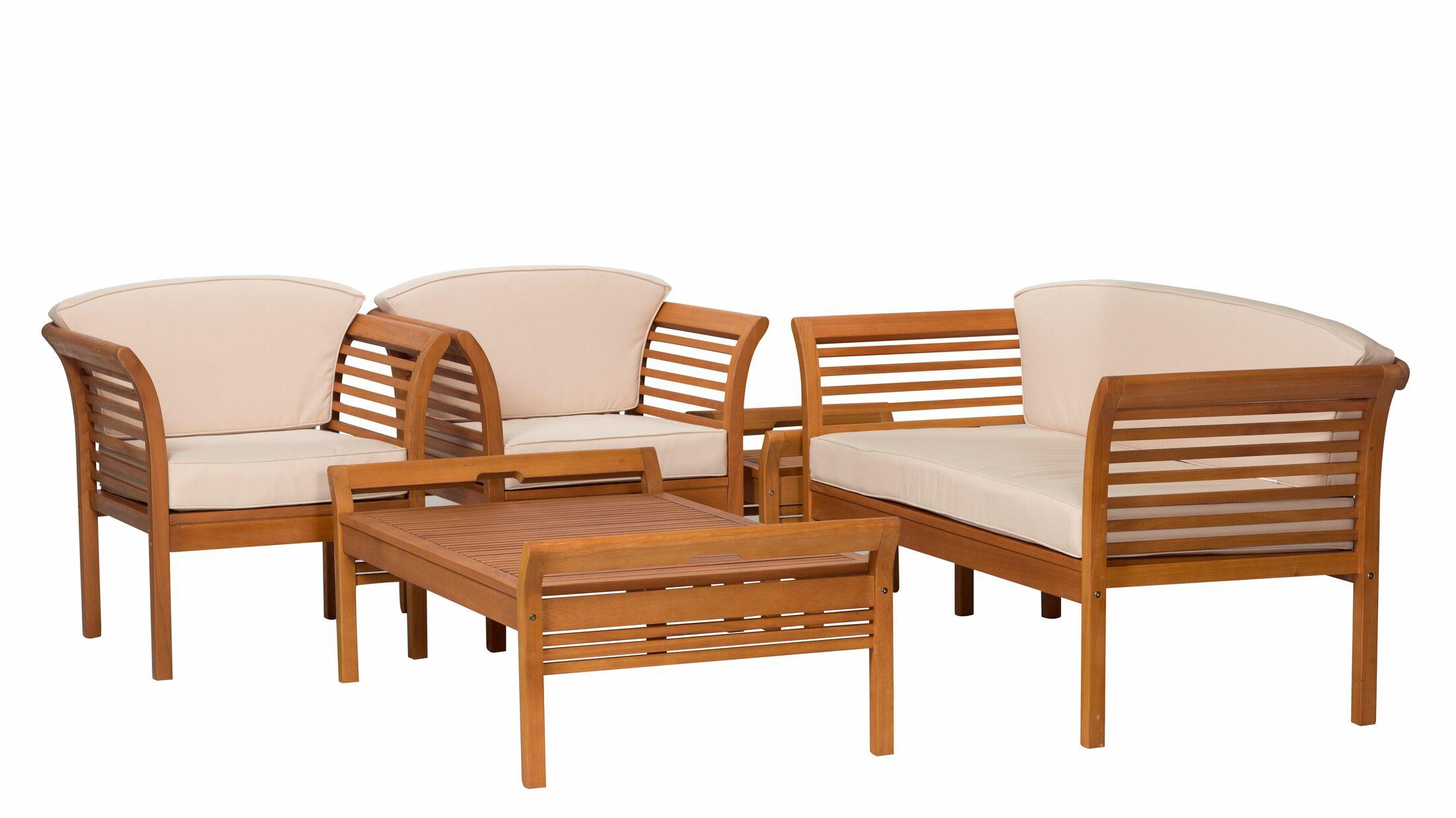 Eastlawn Eucalyptus 5 Piece Sofa Set with Cushions