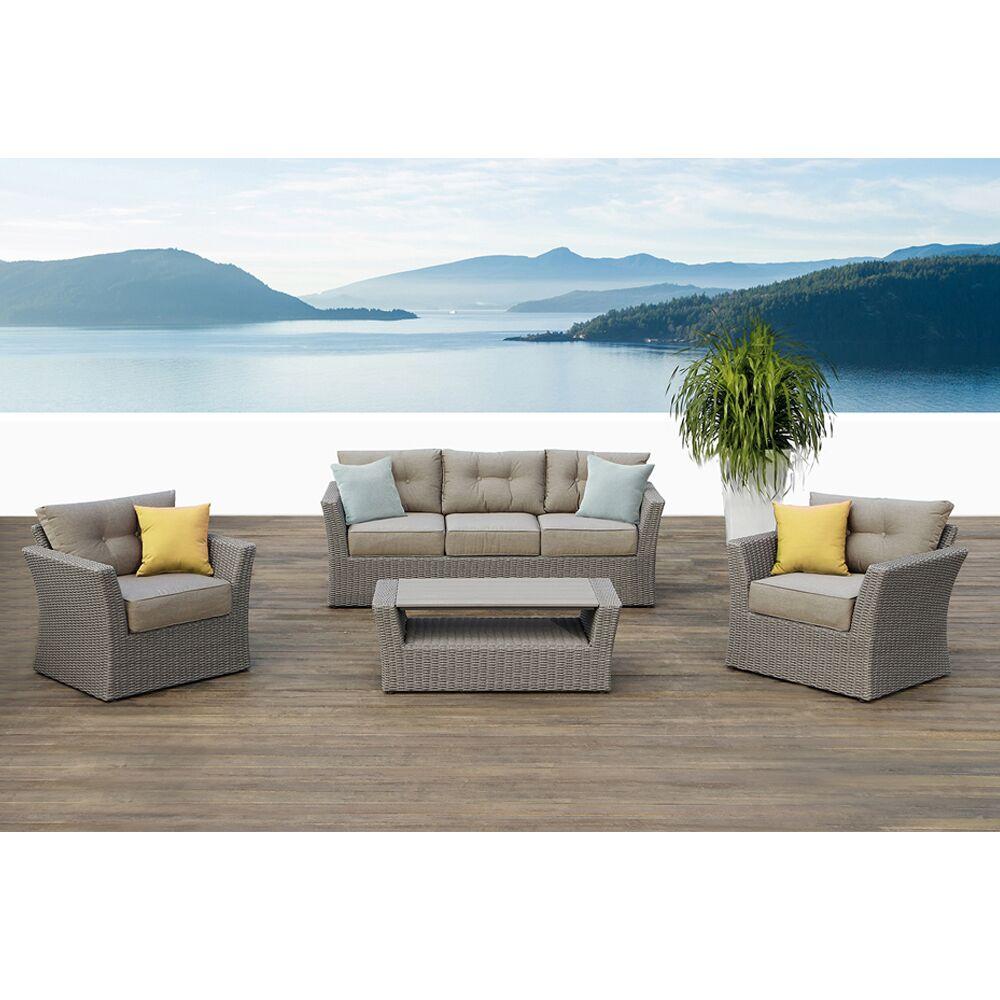 Isabella 4 Piece Rattan Conversation Set with Cushions