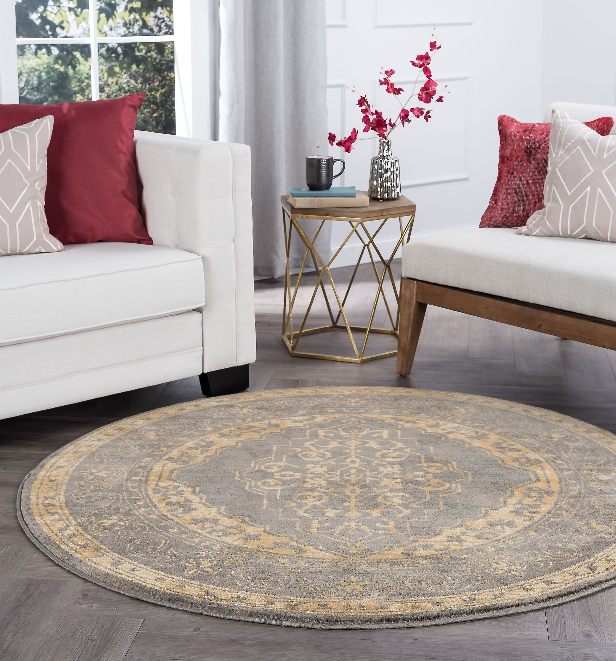 Ramm Transitional Border Ivory Area Rug Rug Size: 5'3'' Round