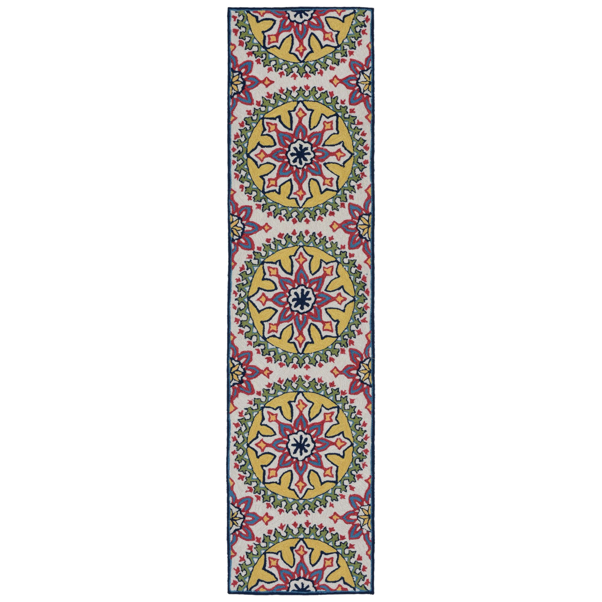 Petterson Moroccan Medallion Hand-Tufted Pink/Yellow Indoor/Outdoor Area Rug Rug Size: Rectangle 5' x 7'6