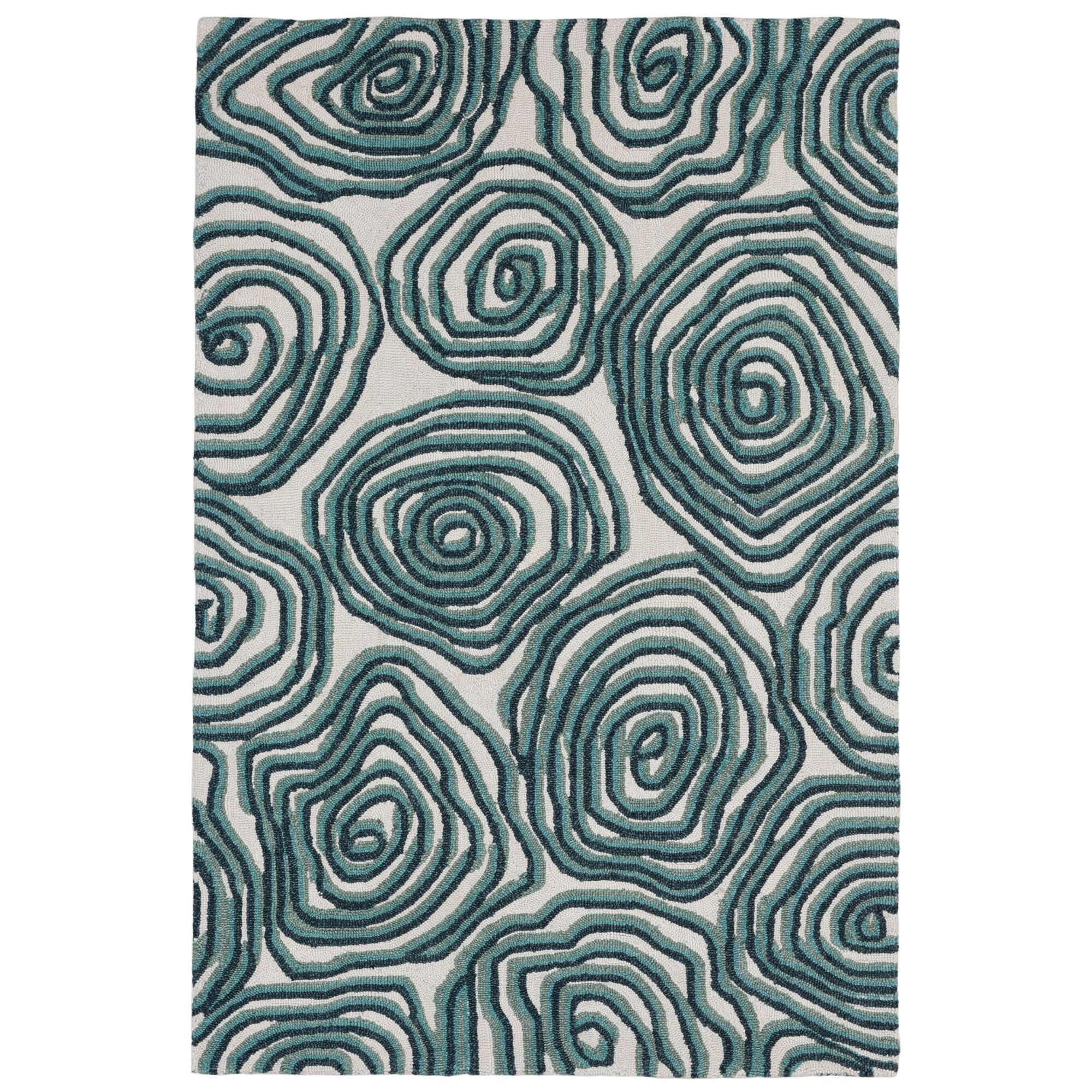 Nancee Block Print Hand-Tufted Green/Beige Area Rug Rug Size: Rectangle5' x 7'6