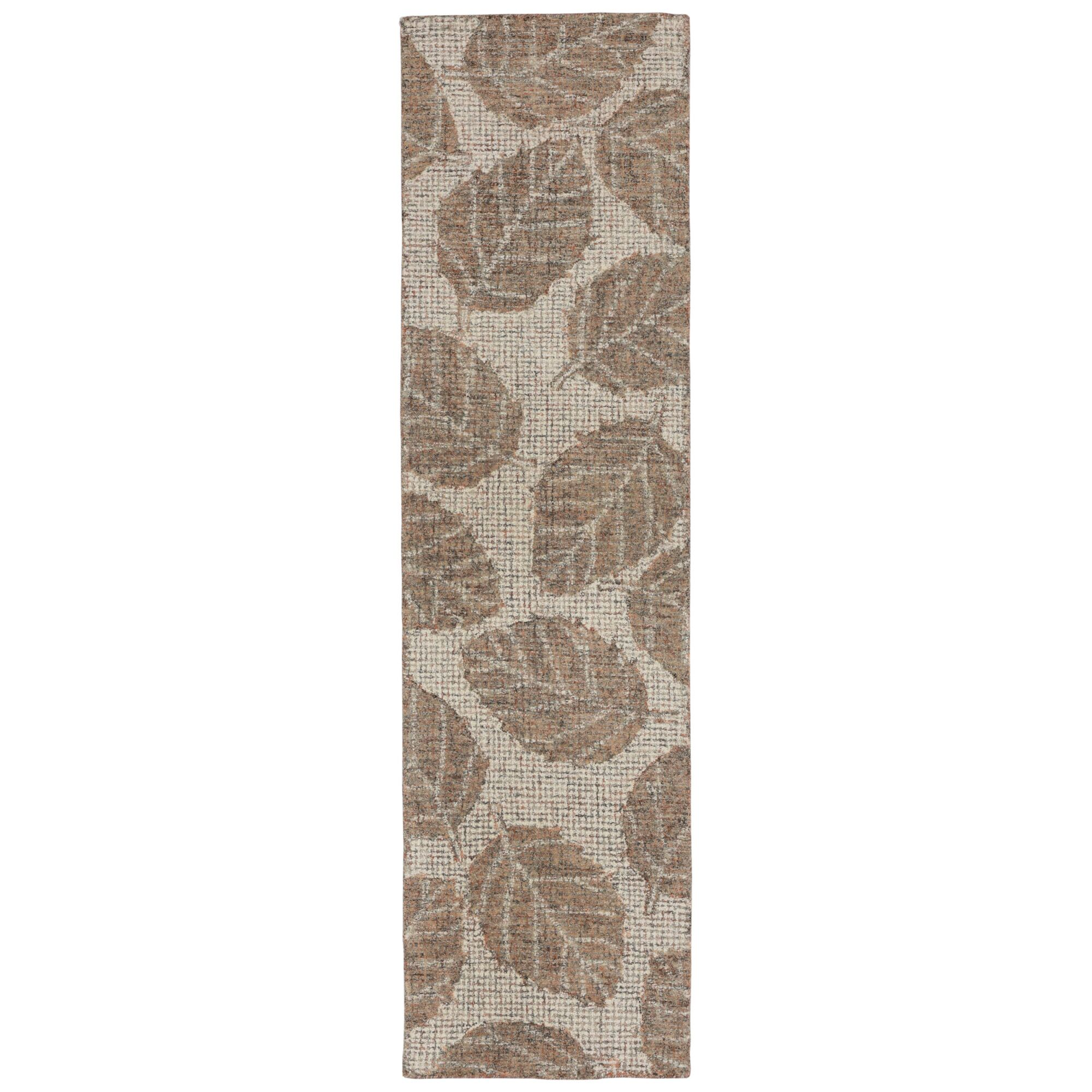 Claremont Leaf Hand-Tufted Wool Khaki/Brown Area Rug Rug Size: Runner 2' x 7'6