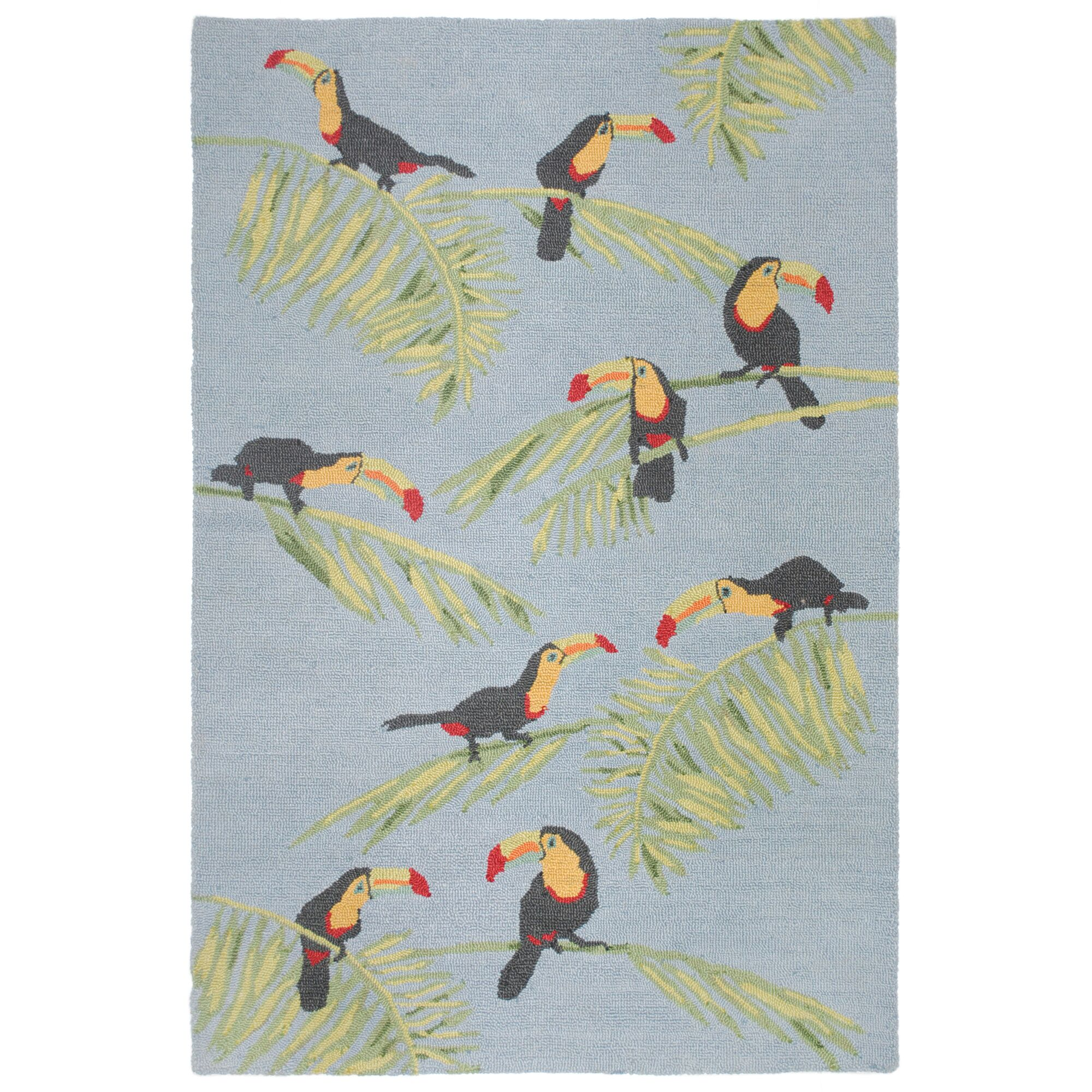 Stender Toucans Hand-Tufted Gray/Green Area Rug Rug Size: Rectangle 8'3