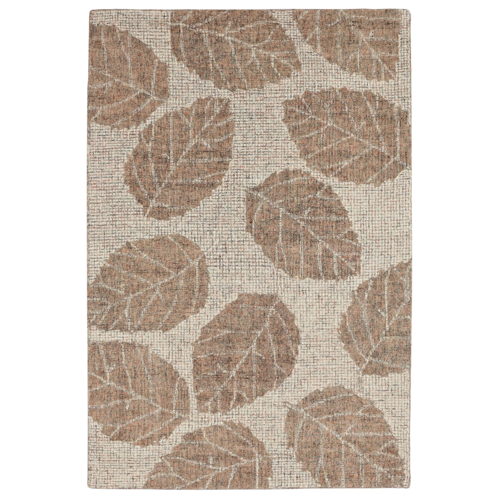 Claremont Leaf Hand-Tufted Wool Khaki/Brown Area Rug Rug Size: Rectangle 3'6