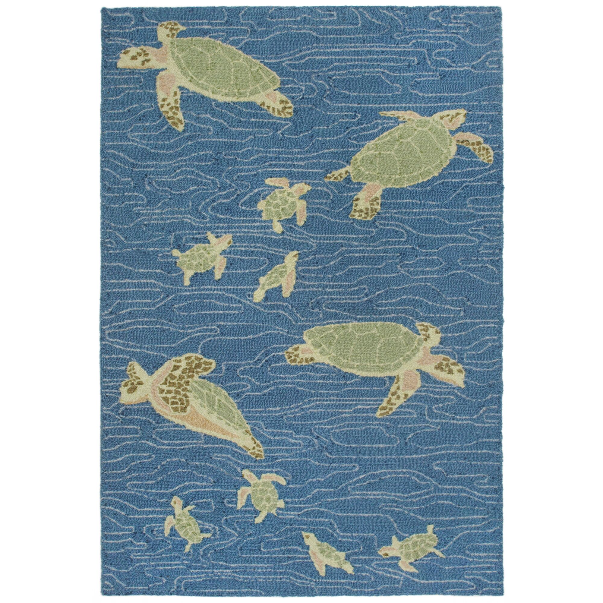 Nancee Sea Turtles Hand-Tufted Blue/Green Area Rug Rug Size: Rectangle 8'3