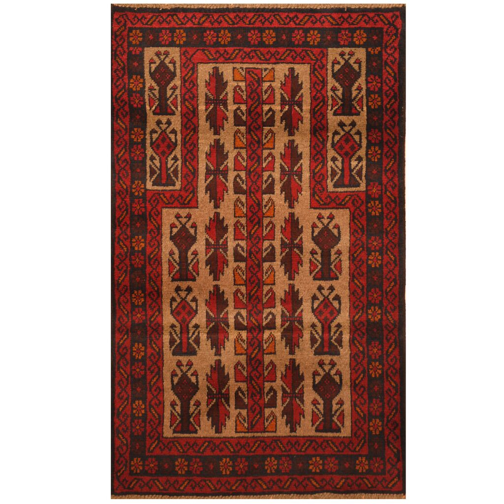 One-of-a-Kind Prentice Hand-Knotted Wool Beige/Red Area Rug