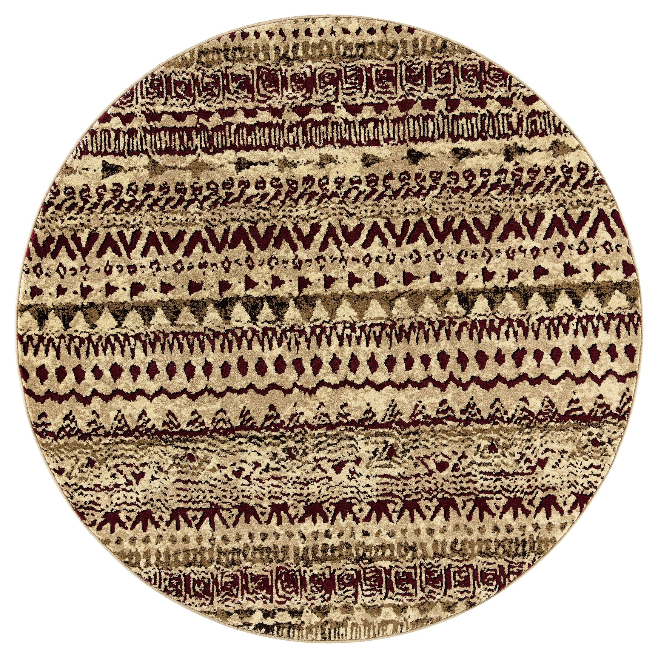 Paugh Premium Transitional Red/Cream Area Rug Rug Size: Round 5'3