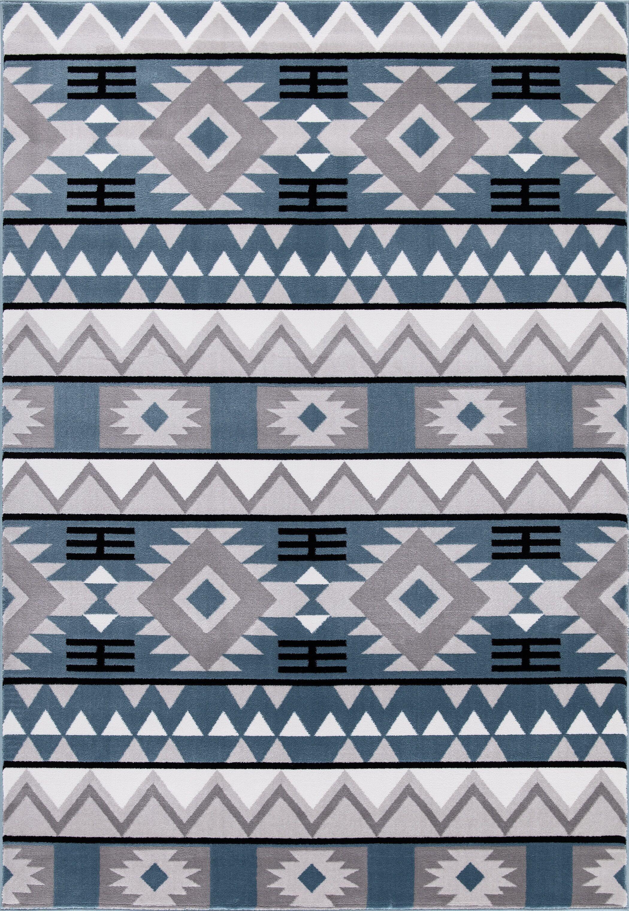 Paugh Premium Southwestern Natïve Blue/Gray Area Rug Rug Size: Rectangle 6'7