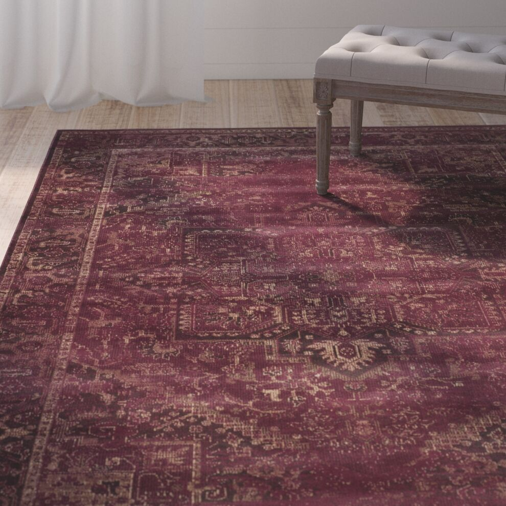 Meline Red Area Rug Rug Size: Rectangle 6'7