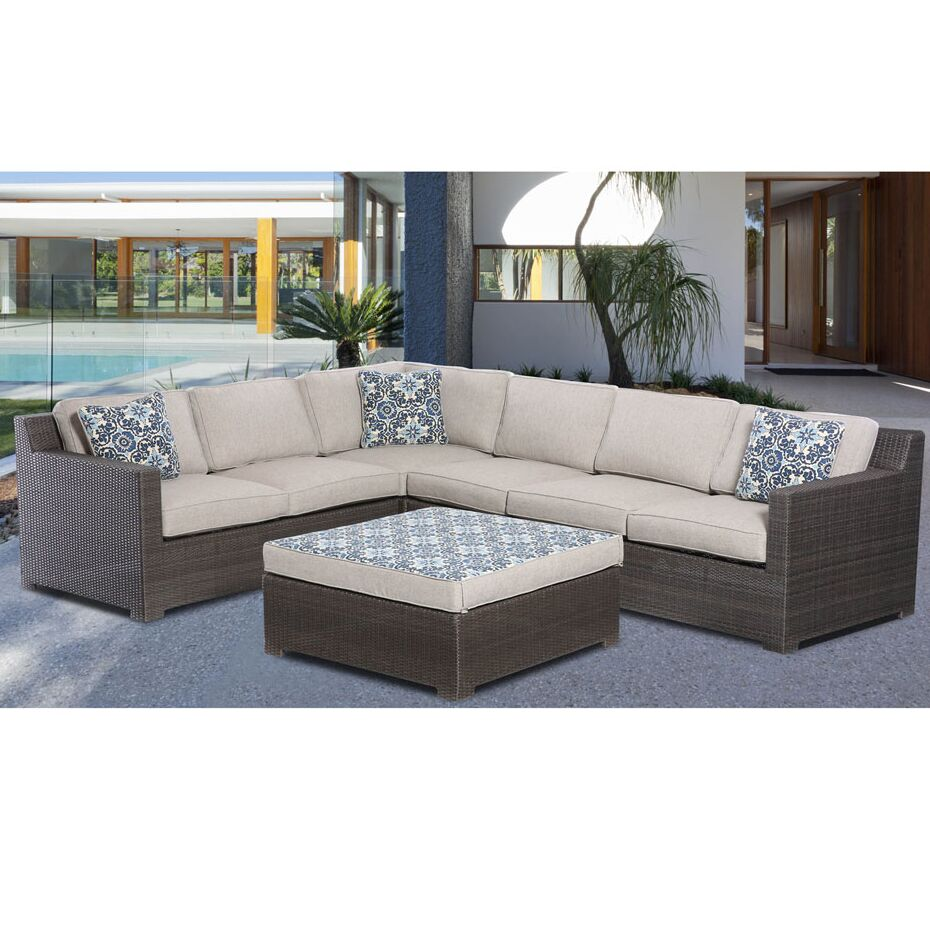 Mcentee 5 Piece Sectional Set with Cushions Cushion Color: Gray, Frame Finish: Gray