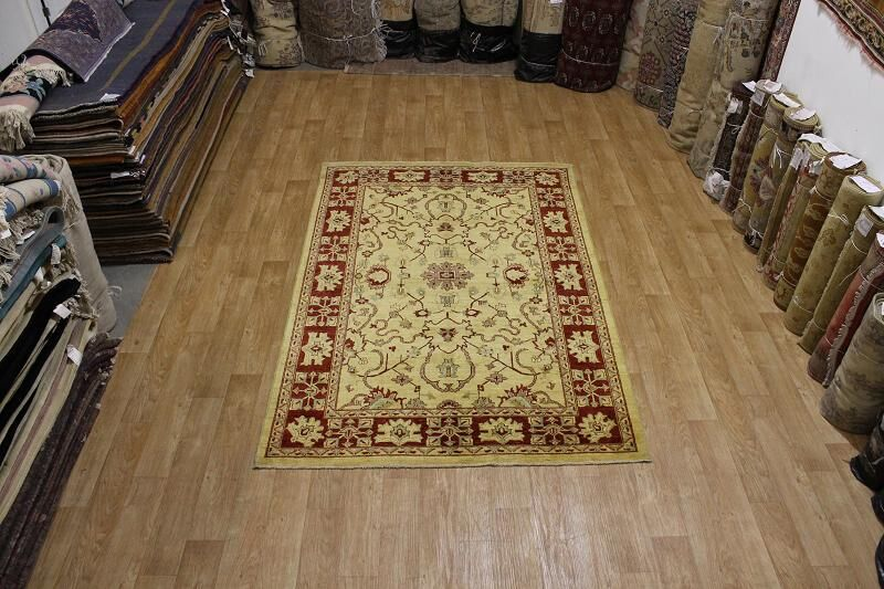One-of-a-Kind Bovill Peshawar Pakistan Oriental Hand-Knotted Wool Yellow/Gold Area Rug