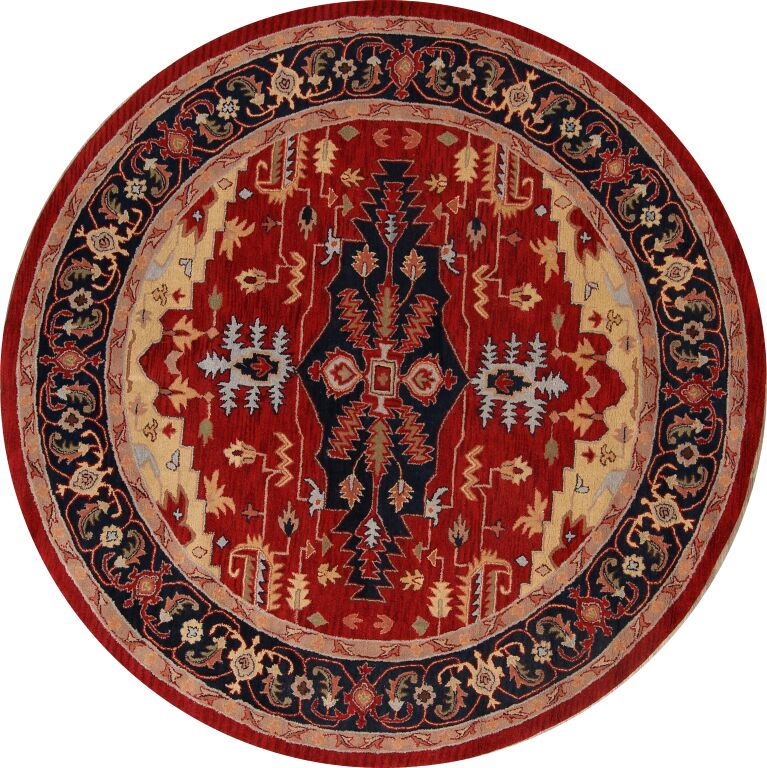 Purvis Oriental Hand-Tufted Wool Red Area Rug