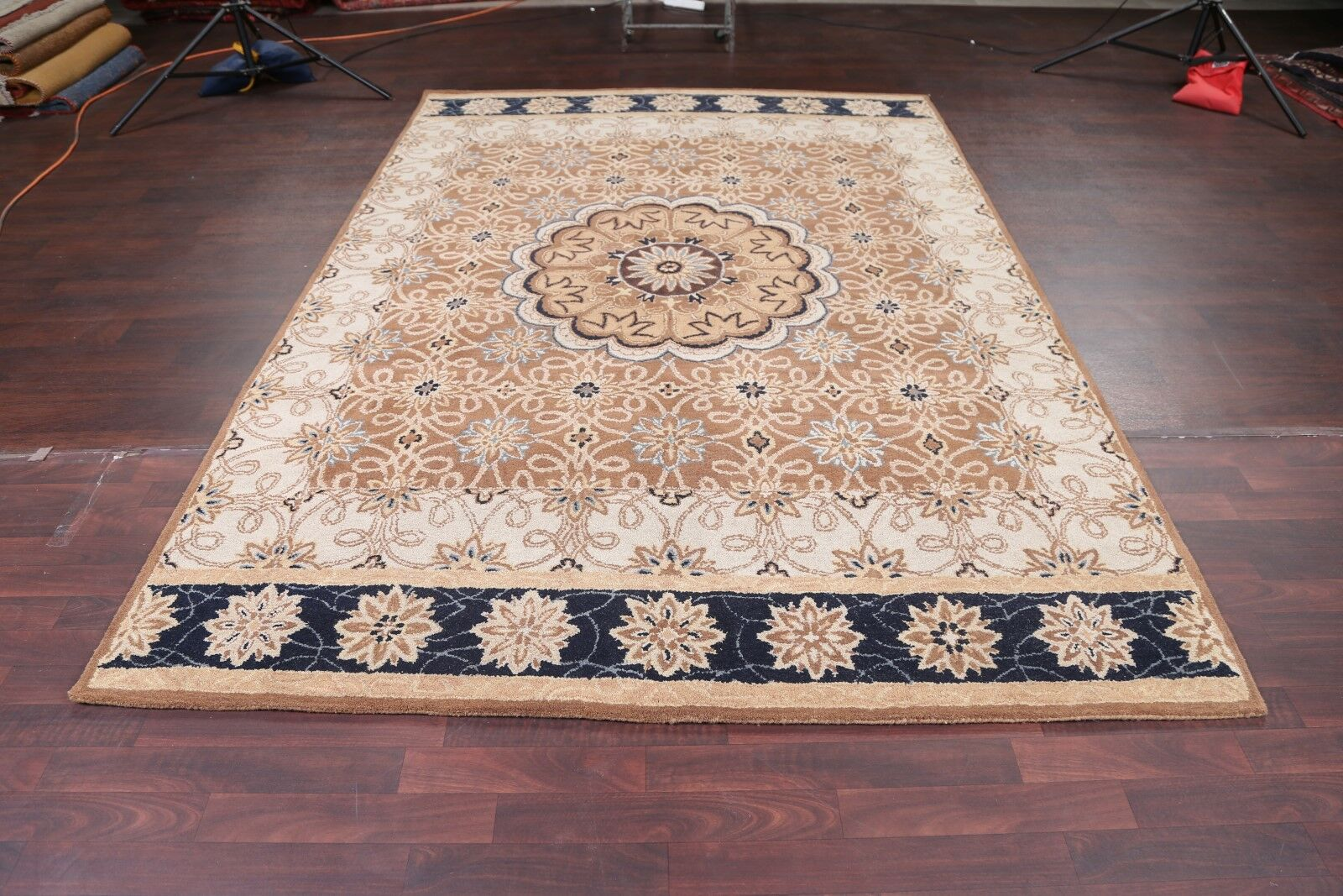 Pugh Oriental Hand-Tufted Wool Brown/White Area Rug