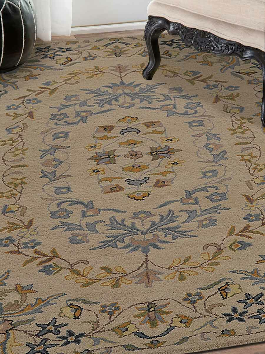 Pugh Agra Oriental Hand-Tufted Wool Beige/Blue Area Rug