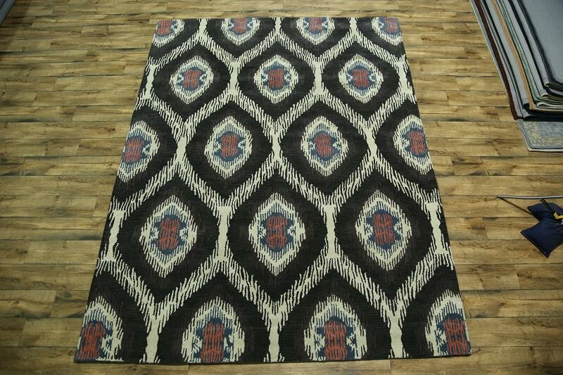 Bovill Oriental Hand-Tufted Wool Brown Area Rug