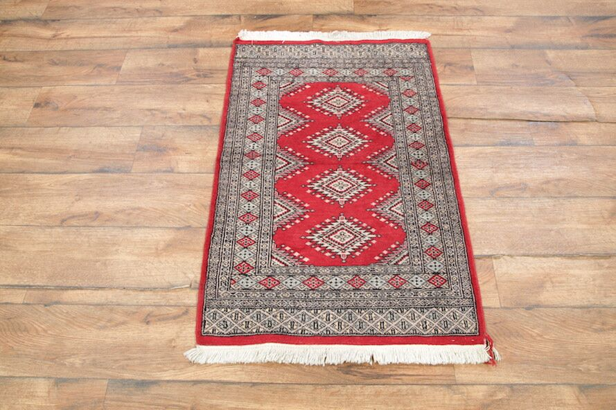 One-of-a-Kind Adriel Oriental Hand-Knotted Wool Red/Gray Area Rug