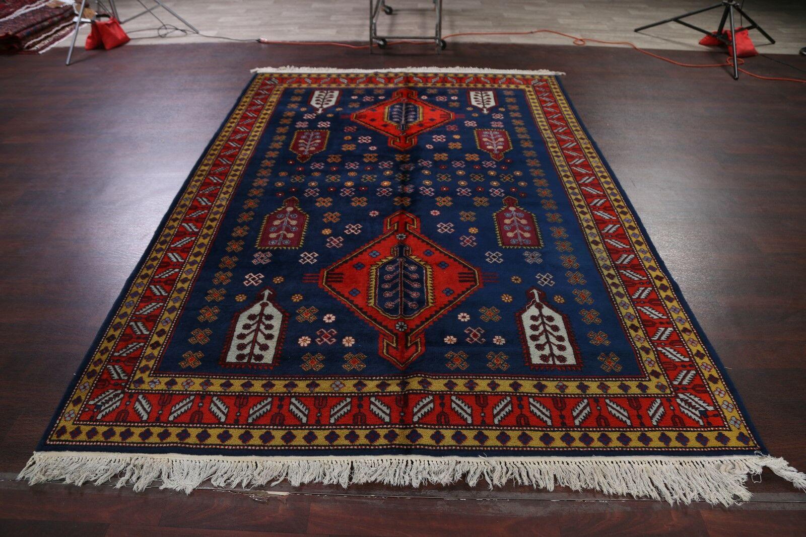 Rennert Kazak Oriental Russian Vintage Hand-Knotted Wool Red/Black/Blue Area Rug