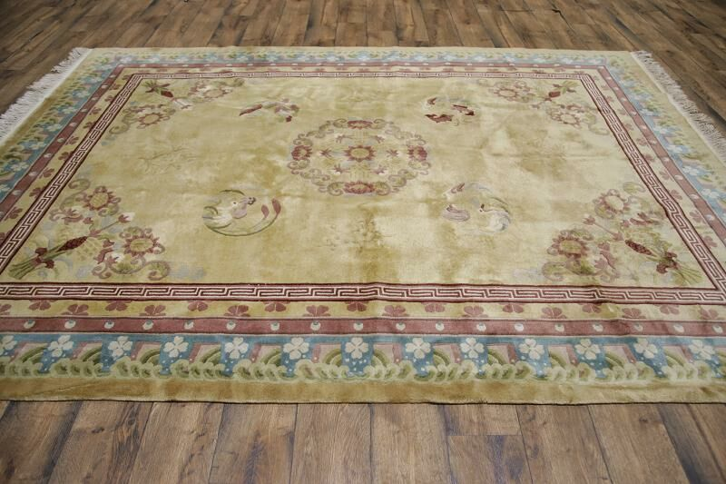 Wobnar Art Deco Chinese Traditional Oriental Hand-Knotted Wool Brown/Green Area Rug