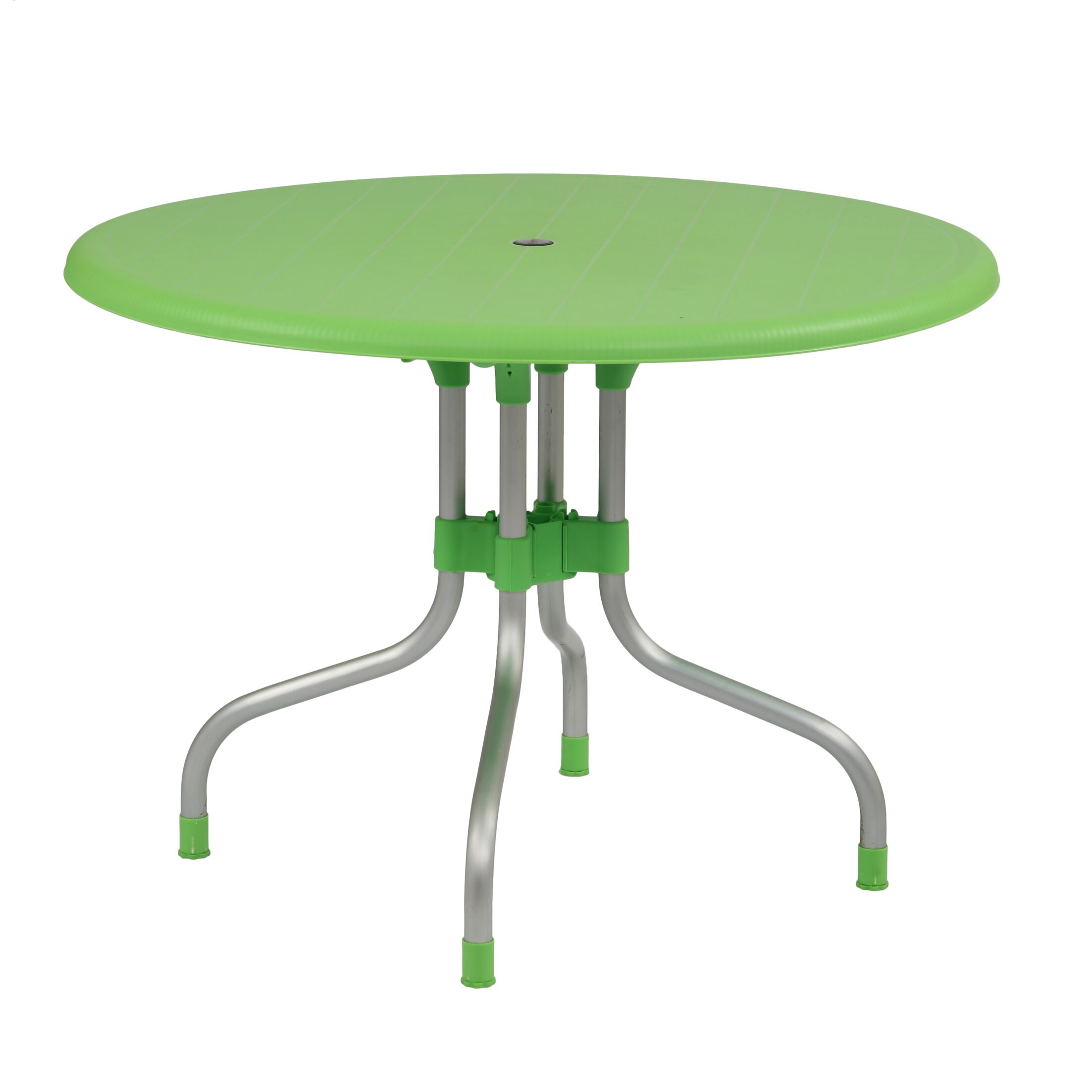 Keeley Round Shape Commercial Grade Folding Aluminum Dininig Table Color: Green
