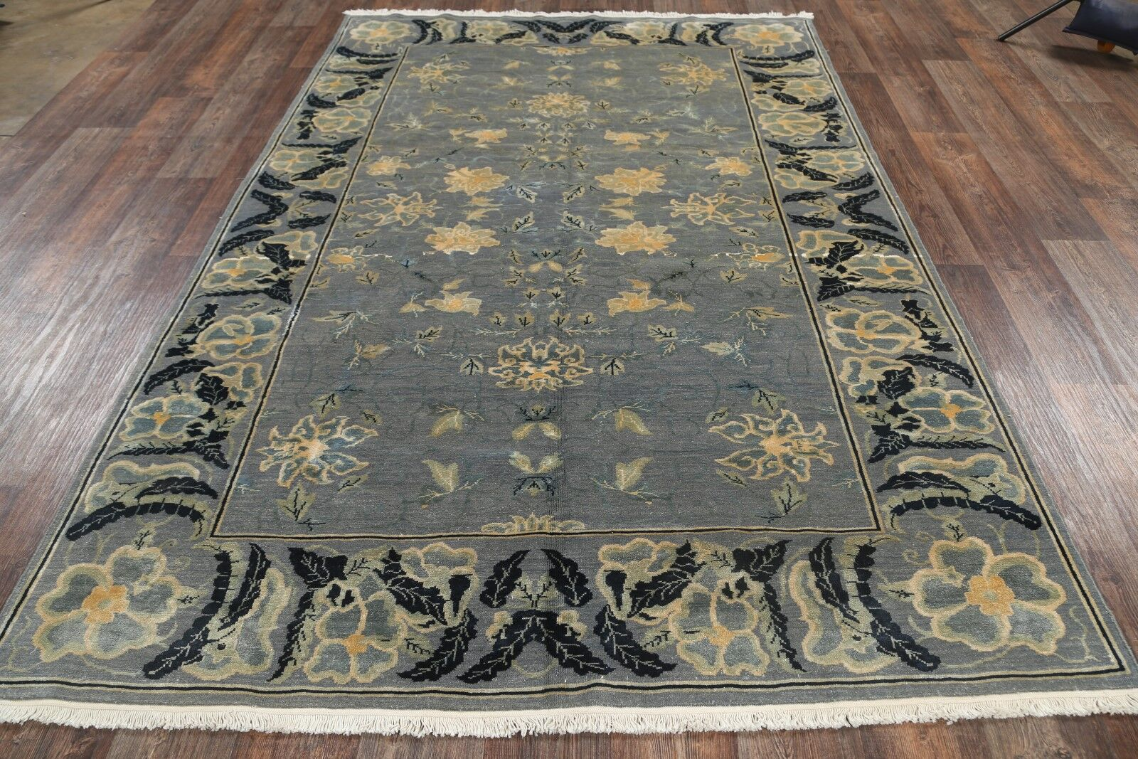 One-of-a-Kind Bathurst Agra Egypt Oriental Hand-Knotted Wool Gray/Charcoal Area Rug