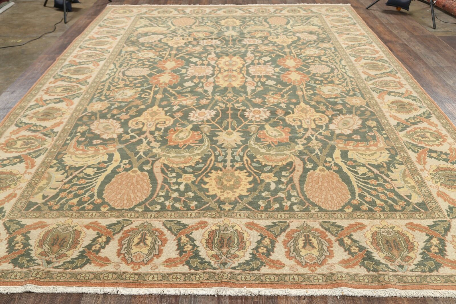 One-of-a-Kind Batley Oushak Egypt Oriental Hand-Knotted Wool Green Area Rug