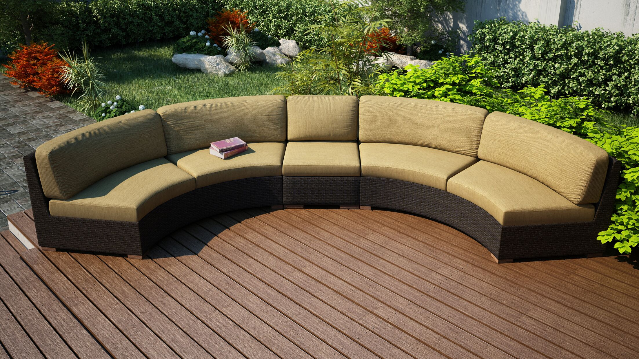 Arden Extended Curved Patio Sectional with Cushions Fabric: Beige