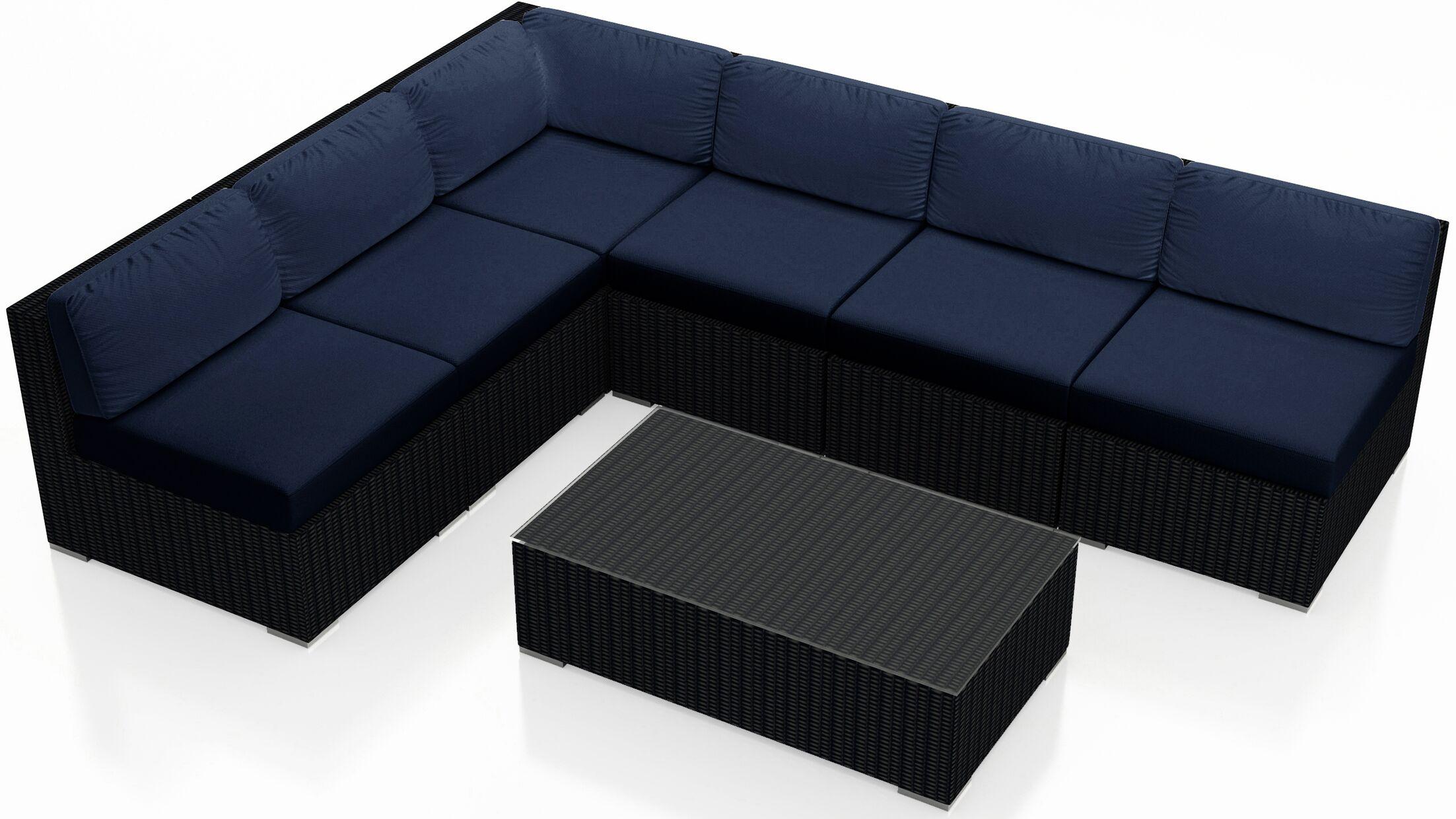 Urbana 7 Piece Sectional Set with Cushions Fabric: Indigo
