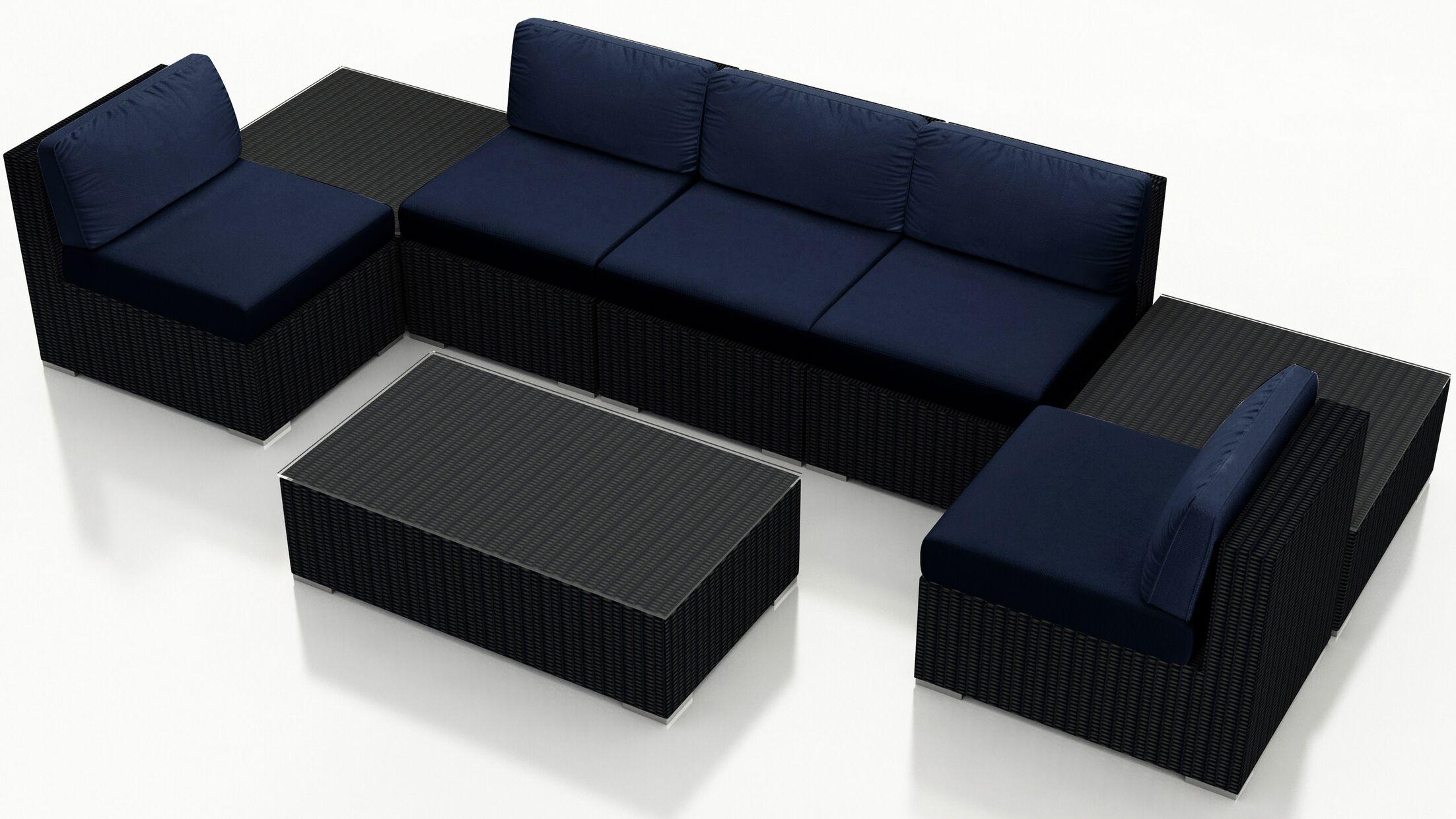 Urbana 8 Piece Sectional Set with Cushions Fabric: Indigo