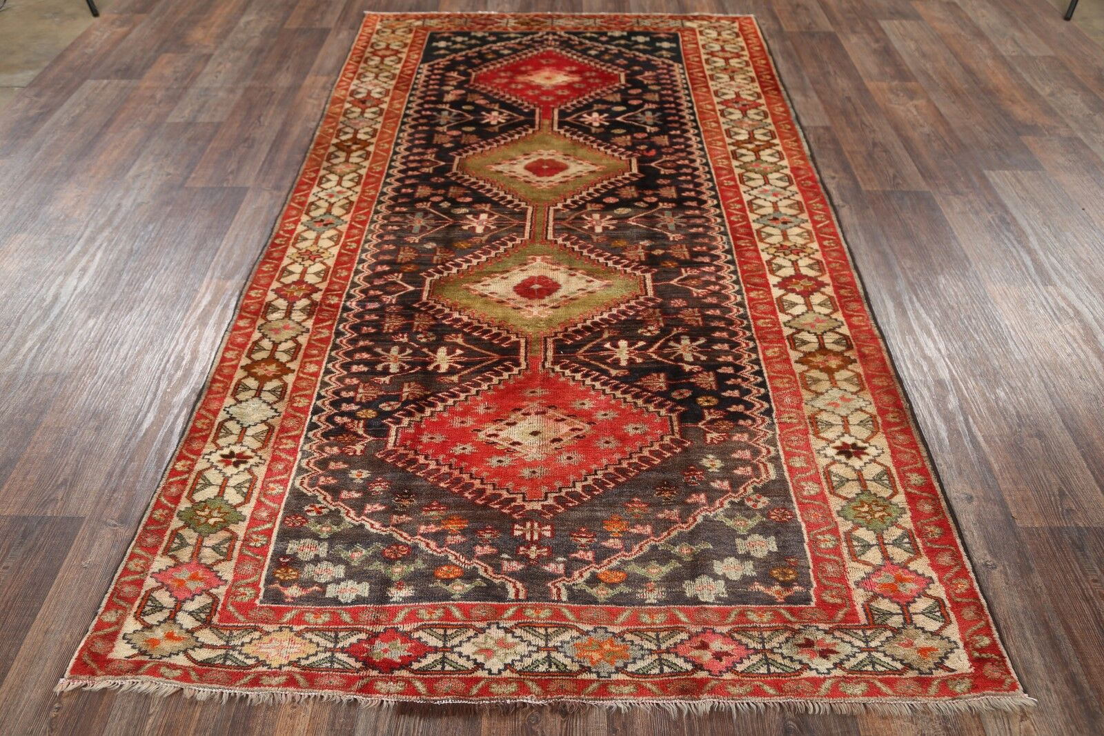 One-of-a-Kind Traditional Yalameh Shiraz Persian Hand-Knotted 5'1