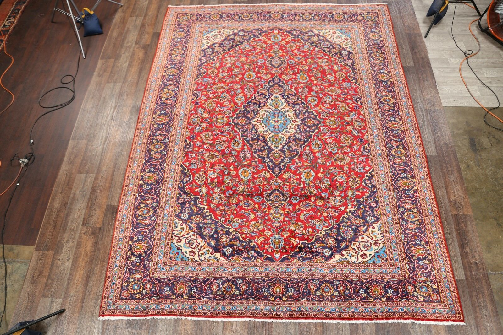 One-of-a-Kind Classical Kashan Persian Traditional Hand-Knotted 9'8