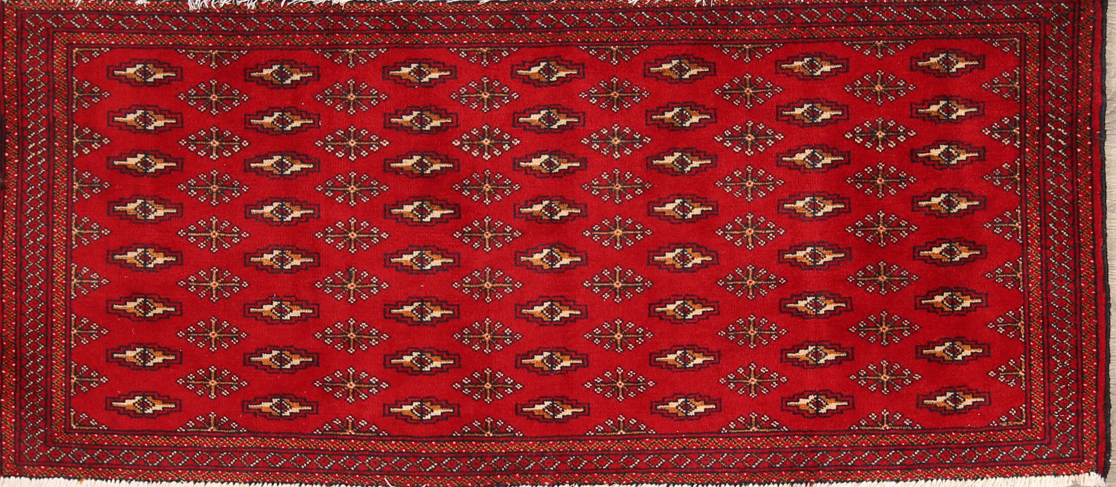 One-of-a-Kind Traditional Turkoman Balouch Persian Hand-Knotted 1'10'' x 4'2'' Wool Red/Yellow Area Rug
