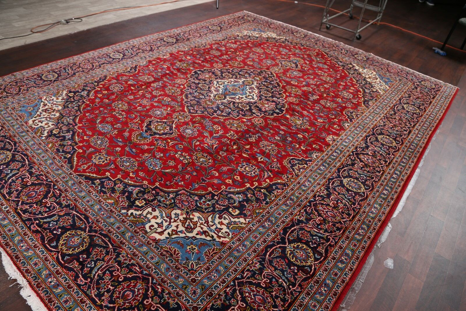 One-of-a-Kind Traditional Floral Kashan Persian Hand-Knotted 10'1