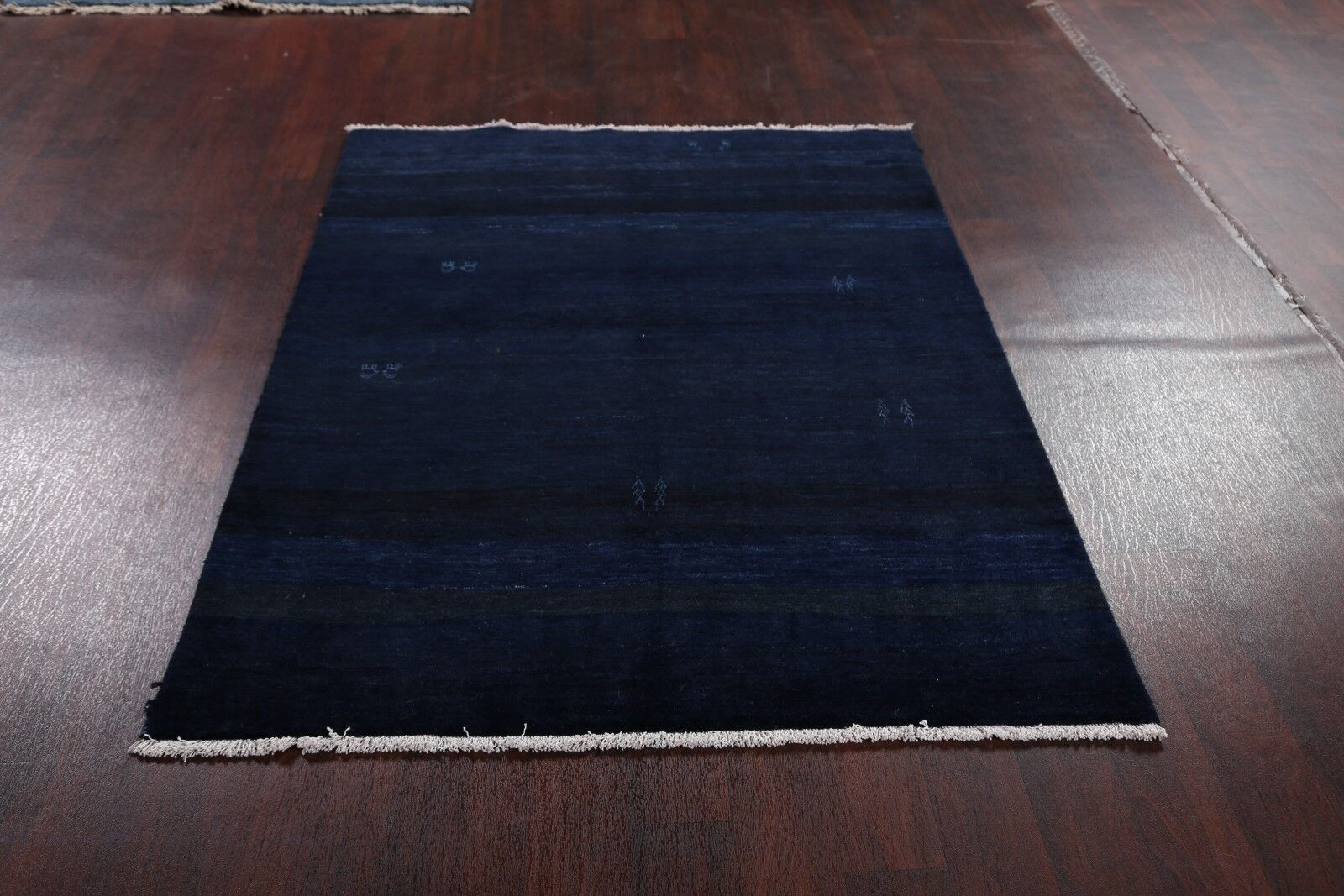 One-of-a-Kind Penrod Traditional Qashqai Gabbeh Shiraz Persian Hand-Knotted 4'4'' x 5'8'' Wool Blue/Gray Area Rug